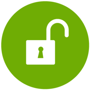 geöffnetes Vorhängeschloss in grünem Kreis