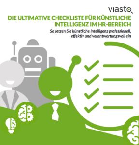 Zwei Menschen Karikaturen stehend lächelnd vor einem Roboter. Daneben eine skizzierte Liste mit vielen abgehakten Punkten.