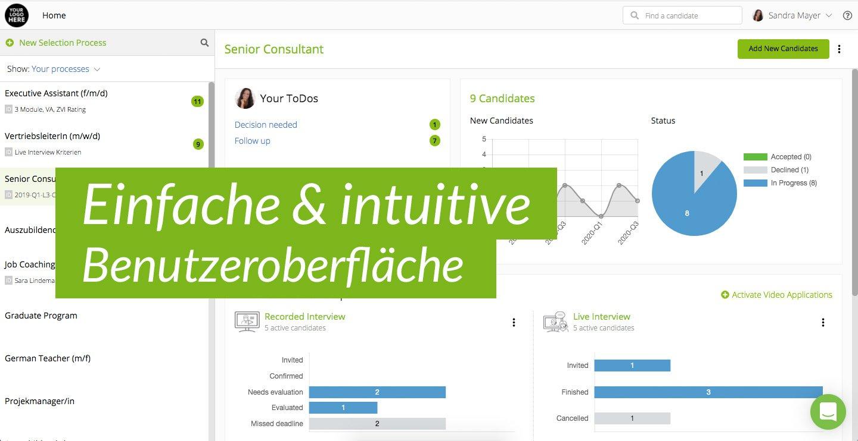 viasto Interview suite Benutzeroberfläche